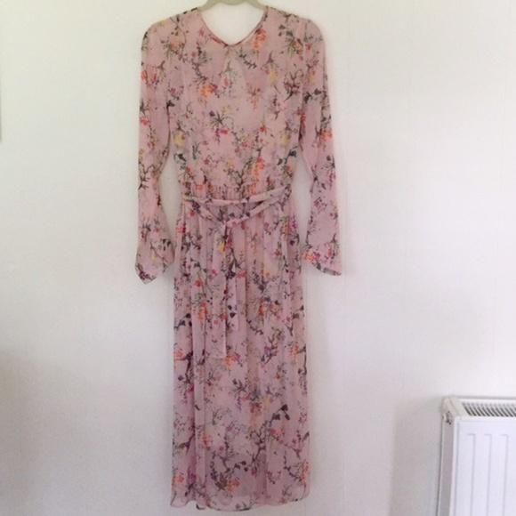 H M Dresses Hm Pink Sheer Floral Midi Dress Poshmark
